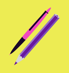 Icon in flat design fashion pen and pencil vector