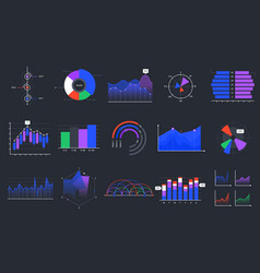 infographic charts colorful data graphs vector image