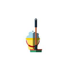 Isolated bucket flat icon mop element can vector