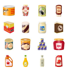 Isolated object of can and food symbol set of can vector