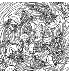 Jellyfish design in line art style vector
