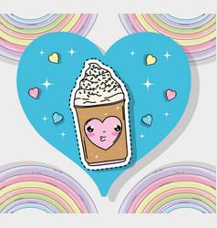 Kawaii cute ice cream sticker with hearts vector