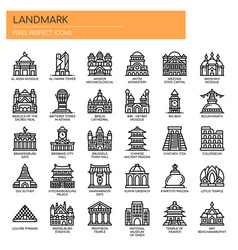 Landmark thin line and pixel perfect icons vector