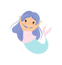 little mermaid with long beautiful blue hair cute vector image