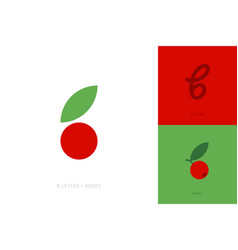 Logo mark or icon letter b and berry with leaf vector