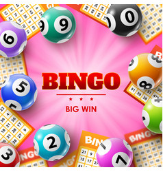 Lottery balls and tickets 3d bingo poster vector
