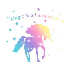 magic unicorn color with stars isolated on white vector image