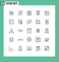 Modern set 25 lines and symbols such as media vector