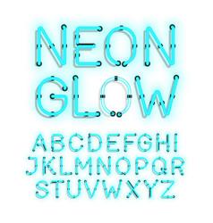 neon glow alphabet on white background vector image