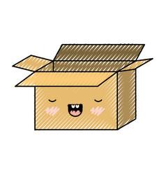 Opened kawaii cardboard box in colored crayon vector