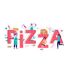pizza typography banner template flat vector image