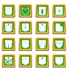 Pocket types icons set green vector