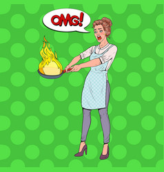 pop art housewife in kitchen holding pan vector image