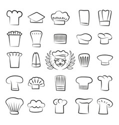 Professional tall chefs hats outline sketches set vector