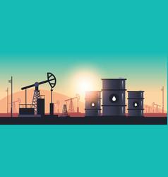 Pumpjack oil barrels petroleum production trade vector