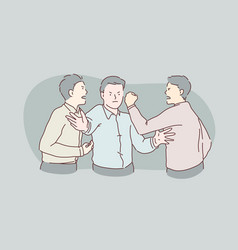 Quarrel fight showdown hatred conflict concept vector