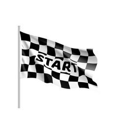 realistic flag auto racing inscription start vector image