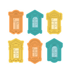 retro window icon window vintage frames windows vector image
