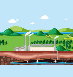 Scene with factory building and underground water vector