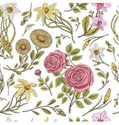Seamless pattern roses with leaves and buds vector