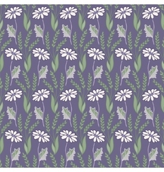 Seamless pattern with daisy vector
