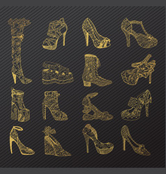 Set isolated sketches golden woman shoes vector