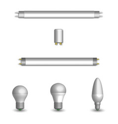 Set of different led and fluorescent light bulbs vector
