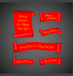 set of red merry christmas banners vector image