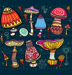 Set stylized mushrooms vector