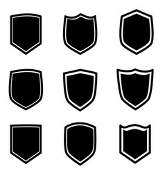 shield icon set on white background flat style vector image