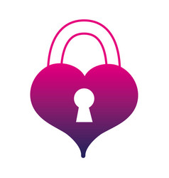 silhouette heart love with padlock shape design vector image