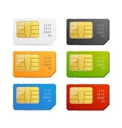 Sim Card Colorful Set vector image