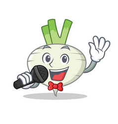 Singing turnip mascot cartoon style vector