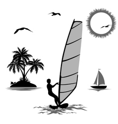 Sportsmen Surfer and Tropical Objects vector