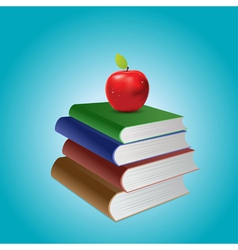 Stack of books and apple vector image