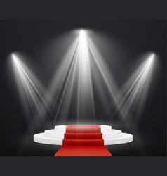 stairs 3d with red carpet spotlight scene vector image