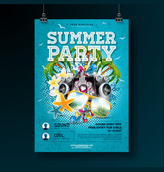 Summer party flyer design with flower vector