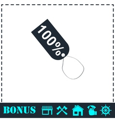 Tag 100 icon flat vector image