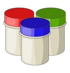 Three jars with gouache icon cartoon style vector