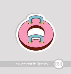 towable water tube inflatble boat icon vacation vector image