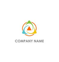 triangle circle colorful arrow logo vector image