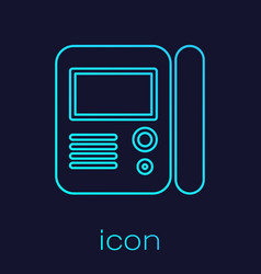 Turquoise line house intercom system icon isolated vector