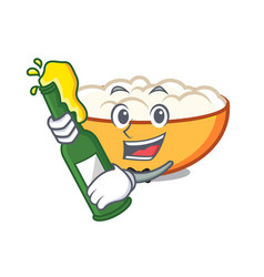 With beer cottage cheese mascot cartoon vector