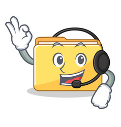 with headphone folder character cartoon style vector image
