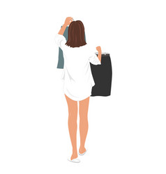 young pretty woman selecting clothes to wear to vector image