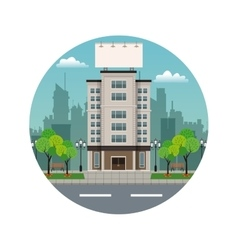 building city with large blank urban billboard vector image