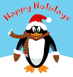 Cartoon penguin Holiday card vector image vector image