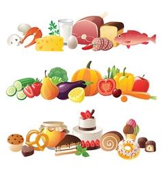 Detailed food borders vector