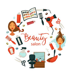 hair beauty or woman hairdresser salon poster for vector image