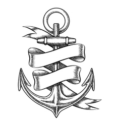 hand drawn anchor sketch with blank ribbon vector image